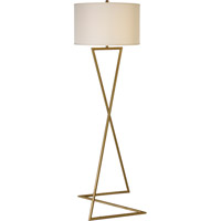 Trend Lighting Zed 1 Light Floor Lamp in Brushed Gold with Lattice Cream Linen Shade TF5625-53