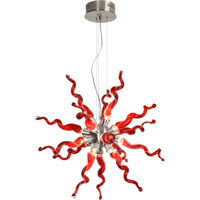 Trend Lighting Stella 16 Light Pendant in Brushed Nickel with Hand Blown Ruby Corkscrew Glass TP3766-16-R