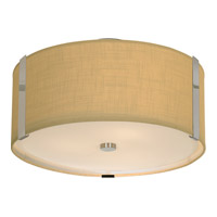 Trend Lighting Butler 3 Light Flushmount in Brushed Nickel with Coarse Cream Linen Shade TP7568