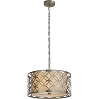 Trend Lighting Swank 2 Light Pendant in Brushed Stainless Steel with Off-White Shantung Shade TP7686-31