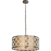 Trend Lighting Swank 3 Light Pendant in Brushed Stainless Steel with Off-White Shantung Shade TP7689-31