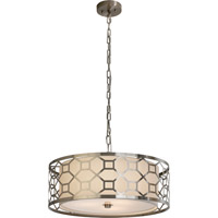 Trend Lighting Gala 3 Light Pendant in Brushed Stainless Steel with Off-White Shantung Shade TP7699-31