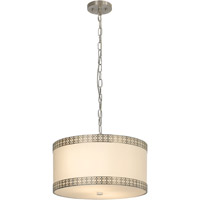 Trend Lighting Crown 2 Light Pendant in Brushed Nickel with Off-White Silk Shade TP7866