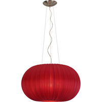 Trend Lighting Shanghai 1 Light Pendant in Sheer Carmine/Bruched Nickel TP7916-R