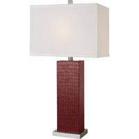Trend Lighting Pelle 1 Light Table Lamp in Burgundy Faux Crocodile Leather with Off-White Shantung Shade TT2910