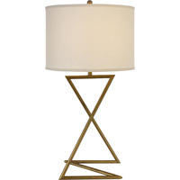 Trend Lighting Zed 1 Light Table Lamp in Brushed Gold with Lattice Cream Linen Shade TT5621-53