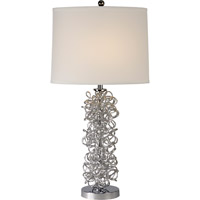 Trend Lighting Mingle 1 Light Table Lamp in Aluminum and Polished Chrome with Off-White Linen Shade TT6821