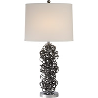 Trend Lighting Mingle 1 Light Table Lamp in Obsidian and Polished Chrome with Off-White Linen Shade TT6831
