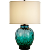 Trend Lighting Panacea 1 Light Table Lamp in Satin Black with Peacock Waterglass and Lattice Cream Linen Shade TT6892