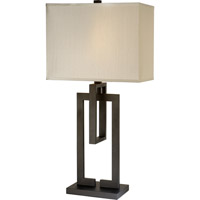 Trend Lighting Precision 1 Light Table Lamp in Blacksmith Gray with Ivory Shantung Shade TT7301-79