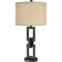 Trend Lighting Linque 1 Light Table Lamp in Blacksmith Gray with Lattice Cream Shade TT7571-79