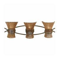 Triarch Industries Bali 3 Light Bath in Weathered Bronze with Hand Made Beaded Glass 23101
