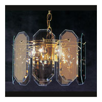 Triarch Industries Reflections 3 Light Chandelier in Brass Plated Frame with Reflective Mirror Panels Glass 25102