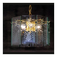 Triarch Industries Wexord Collection 3 Light Chandelier in Brass Plated Frame with Clear Cut Panels Glass 25112