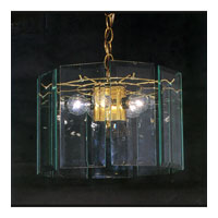 Triarch Industries Clear Panel 3 Light Chandelier in Brass Plated Frame with Clear Bevelled Panels Glass 25122