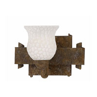Triarch Industries Old World 1 Light Bath in Hammered Bronze Metallic with Sculptured Scavo Glass 25931