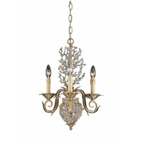 Triarch Industries Garland 3 Light Mini Chandelier in Gold and Silver Leaf with Hand Strewn Beads Glass 29238
