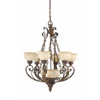 Triarch Industries Kordoba 9 Light Chandelier in Roman Bronze with Cognac Antiqued Scavo Glass 29274