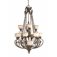 Triarch Industries Kordoba 16 Light Chandelier in Roman Bronze with Cognac Antiqued Scavo Glass 29276