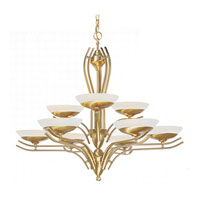 Triarch Industries Halogen V 9 Light Chandelier in Satin Brass with White Alabaster Glass 29459-SB
