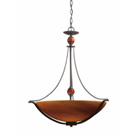 Triarch Industries Halogen VI 4 Light Pendant in Oil Rubbed Bronze with Amber Hand Blown Art Glass 29462-BZ