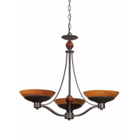Triarch Industries Halogen VI 3 Light Chandelier in Oil Rubbed Bronze with Amber Hand Blown Art Glass 29463-BZ