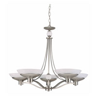 Triarch Industries Halogen VI 5 Light Chandelier in Brush Steel Plated with White Hand Blown Art Glass 29465-BS