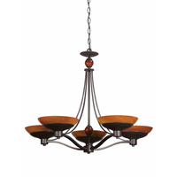 Triarch Industries Halogen VI 5 Light Chandelier in Oil Rubbed Bronze with Amber Hand Blown Art Glass 29465-BZ