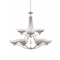 Triarch Industries Halogen VI 9 Light Chandelier in Brush Steel Plated with White Hand Blown Art Glass 29469-BS