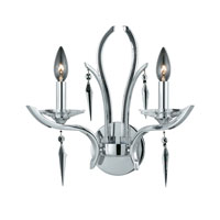Triarch Industries Allure 2 Light Wall Sconce in Chrome Plated with Acrylic Accents With Crystal Drops Glass 29490/2