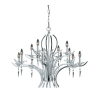 Triarch Industries Allure 12 Light Chandelier in Chrome Plated with Acrylic Accents With Crystal Drops Glass 29494
