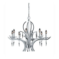 Triarch Industries Allure 8 Light Chandelier in Chrome Plated with Acrylic Accents With Crystal Drops Glass 29497