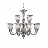 Triarch Industries Regency 12 Light Chandelier in Pewter Plated with Etched Glass 29583-PWT
