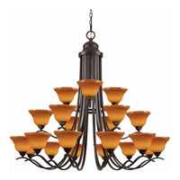 Triarch Industries Esquire 21 Light Entry Chandelier in Oil Rubbed Bronze with Hand Blown Amber Art Glass 29615
