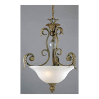 Triarch Industries Stephano 3 Light Pendant in Camel Beige With Antiqued Gold Highlights with Frosted Glass 29662