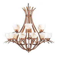 Triarch Industries Legend 18 Light Entry Chandelier in Brushed Copper with Hand Painted Pearlized Alabaster Glass 29676-BC