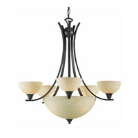Triarch Industries Luxor 8 Light Chandelier in Oil Rubbed Bronze with Hand Painted Scavo Glass 29765-BZ