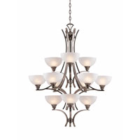 Triarch Industries Luxor 12 Light Chandelier in Antique Brush Steel with White Alabaster Swirl Glass 29771-BS