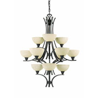 Triarch Industries Luxor 12 Light Chandelier in Oil Rubbed Bronze with Hand Painted Scavo Glass 29771-BZ