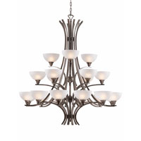 Triarch Industries Luxor 21 Light Chandelier in Antique Brush Steel with White Alabaster Swirl Glass 29772-BS