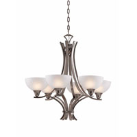 Triarch Industries Luxor 6 Light Chandelier in Antique Brush Steel with White Alabaster Swirl Glass 29773-BS