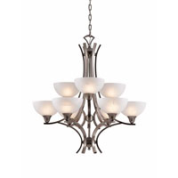 Triarch Industries Luxor 9 Light Chandelier in Antique Brush Steel with White Alabaster Swirl Glass 29774-BS