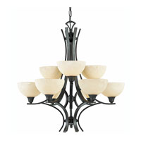Triarch Industries Luxor 9 Light Chandelier in Oil Rubbed Bronze with Hand Painted Scavo Glass 29774-BZ