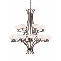 Triarch Industries Luxor 18 Light Chandelier in Antique Brush Steel with White Alabaster Swirl Glass 29775-BS