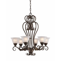 Triarch Industries Monte Carlo 6 Light Chandelier in Harvest Bronze with White Alabaster Swirl Glass 30021-HBZ