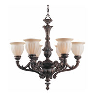 Triarch Industries Sultan 6 Light Chandelier in Bronze Oro with Cognac Antiqued Scavo Glass 31023
