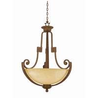 Triarch Industries Ambassador 6 Light Pendant in Morrocan Bronze with Cognac Antiqued Scavo Glass 31122-31