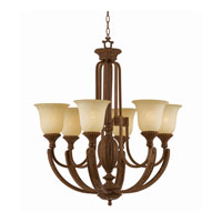 Triarch Industries Ambassador 6 Light Chandelier in Morrocan Bronze with Cognac Antiqued Scavo Glass 31123