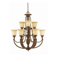 Triarch Industries Ambassador 9 Light Chandelier in Morrocan Bronze with Cognac Antiqued Scavo Glass 31124