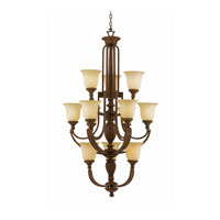Triarch Industries Ambassador 12 Light Chandelier in Morrocan Bronze with Cognac Antiqued Scavo Glass 31126